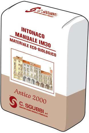 Malta preconfezionata priva di cemento, da utilizzare a mano per la realizzazione di intonaci di fondo esterni o interni